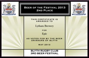 2013-Beer-Fest-2nd-place---Lytham-Brewery---Epic