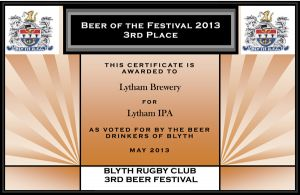 2013-Beer-Fest-3rd-place---Lytham-Brewery---IPA